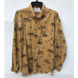 Deer Patterned 100% Cotton Button Down Top Sz L